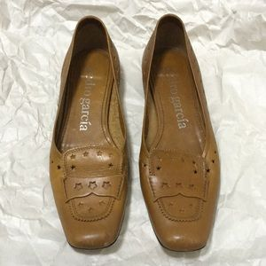 Pedro garcia brown flat loafer shoes